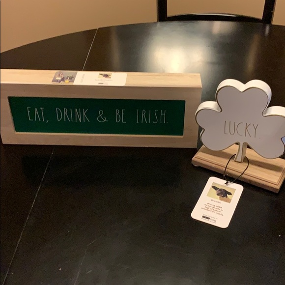2 Rae Dunn items.   St Patrick's day wooden box